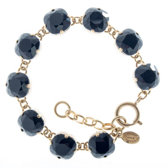 Catherine Popesco Large Stone Crystal Bracelet - Jet Black & Gold