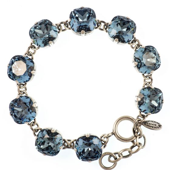 Catherine Popesco Large Stone Crystal Bracelet - Midnight Blue and Silver