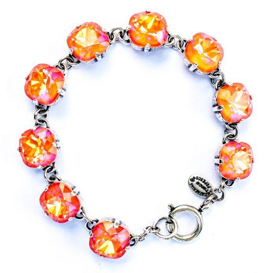 Catherine Popesco Large Stone Crystal Bracelet - Tangerine & Silver