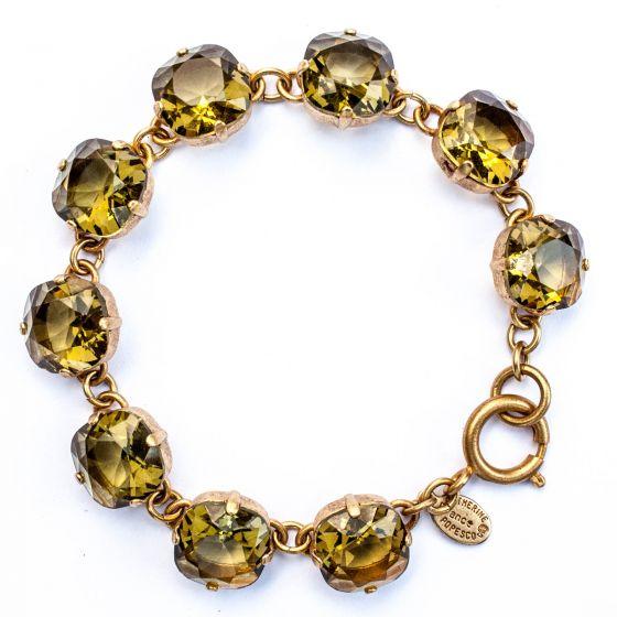 Catherine Popesco Large Stone Crystal Bracelet - Khaki and Gold