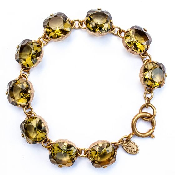 Catherine Popesco Large Stone Crystal Bracelet - Khaki and Silver