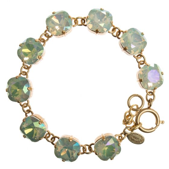 Catherine Popesco Large Stone Crystal Bracelet - Celadon and Gold