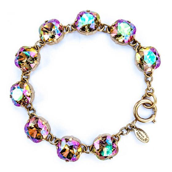 Catherine Popesco Large Stone Crystal Bracelet - Purple Haze and Gold