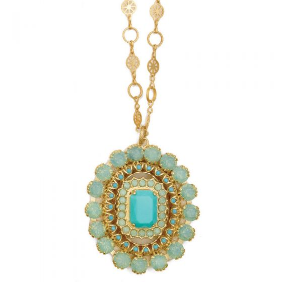 Oval Crystal Pendant Necklace - Pacific Opal