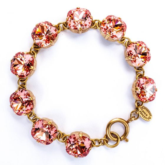 Catherine Popesco Large Stone Crystal Bracelet - Peach and Gold