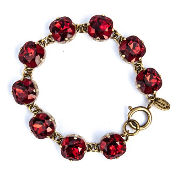 Catherine Popesco Large Stone Crystal Bracelet - Siam Red and Silver