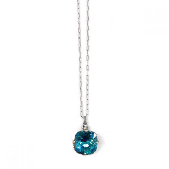Catherine Popesco Large Stone Crystal Necklace  - Electric Blue and Gold