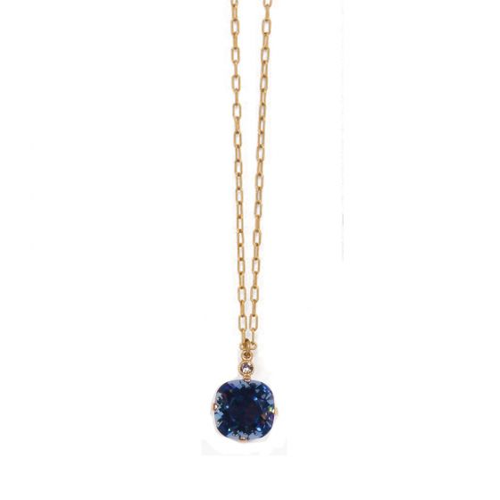 Large Stone Crystal Necklace  - Midnight Blue and Silver