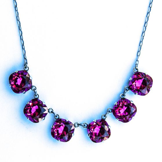 Large Stone Six Crystal Necklace - Fuchsia & Silver