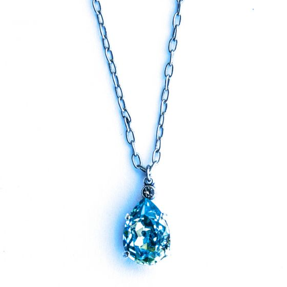 Aqua and Silver Teardrop Necklace