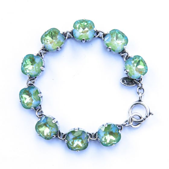 Catherine Popesco Large Stone Crystal Bracelet - Ultra Lime and Silver