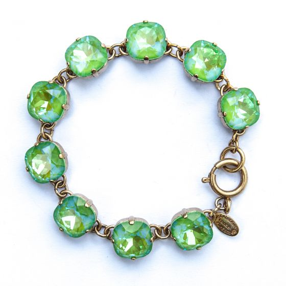 Catherine Popesco Large Stone Crystal Bracelet - Ultra Lime and Gold