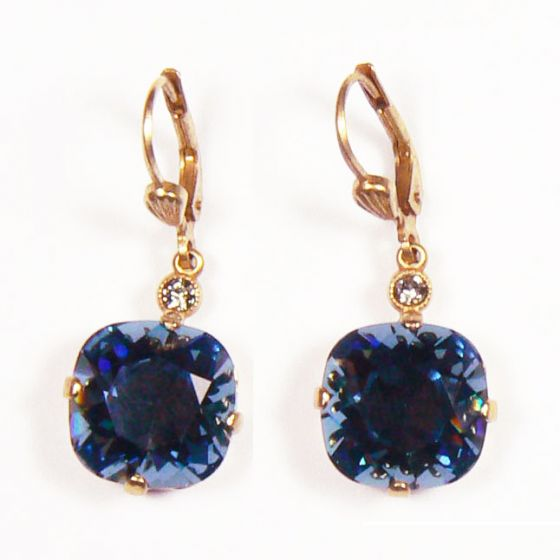 Large Stone Crystal Earrings - Midnight Blue and Silver