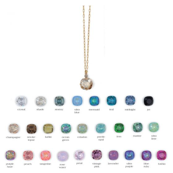 Catherine Popesco Large Stone Crystal Necklace  - Assorted Colors in Gold or Silver