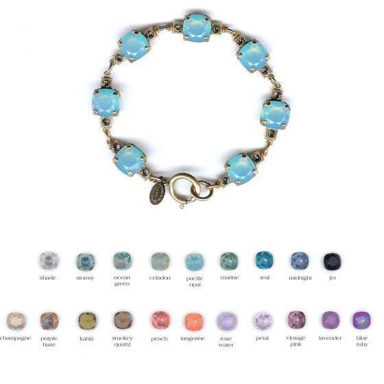 Catherine Popesco Medium Stone 10mm Crystal Bracelet - Assorted Colors in Gold or Silver