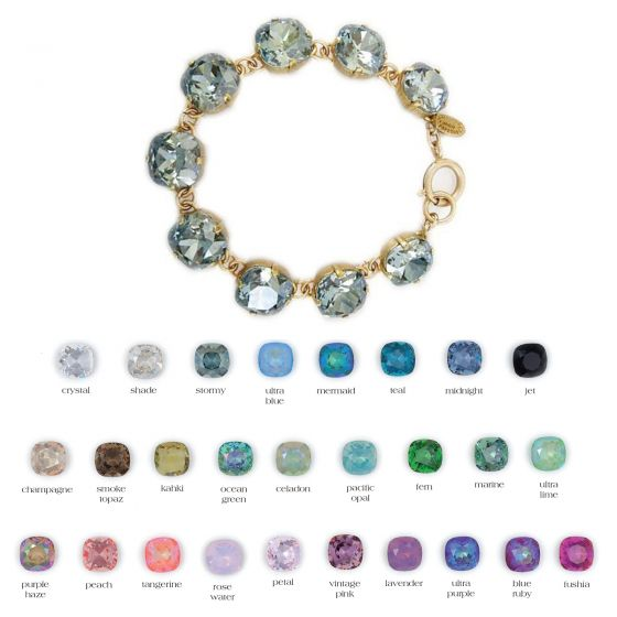 Catherine Popesco Large Stone Crystal Bracelet - Assorted Colors in Gold or Silver