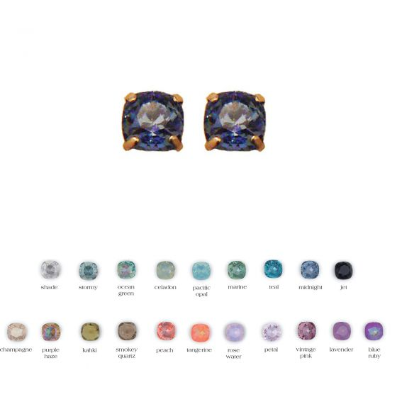 Catherine Popesco Square Medium Stone Post/Stud Earrings - Assorted Colors in Gold or Silver