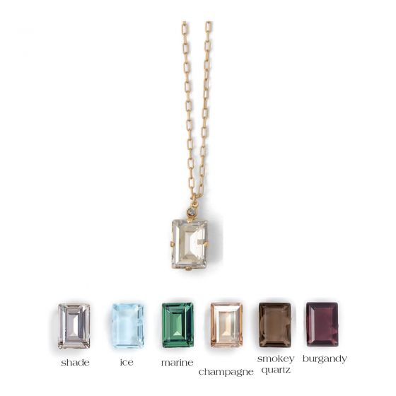 Catherine Popesco Rectangle Crystal Necklace  - Assorted Colors in Gold or Silver