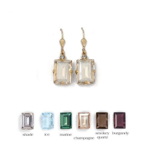 Catherine Popesco Rectangle Crystal Earrings - Assorted Colors in Gold or Silver