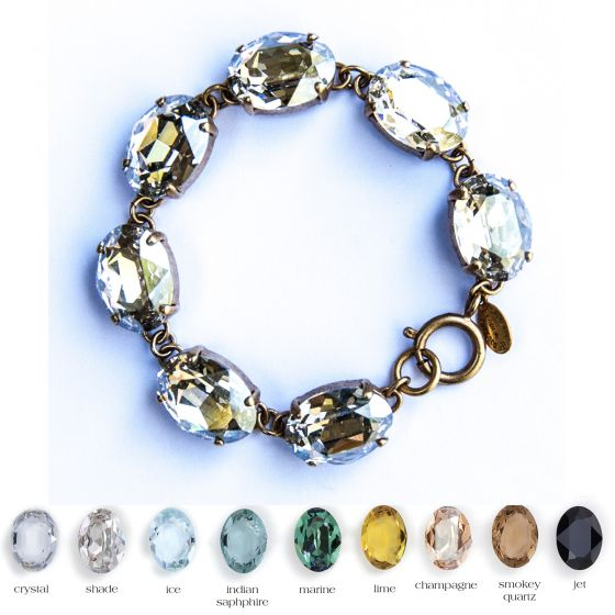 Catherine Popesco Large Stone Oval Crystal Bracelet 7 Stones - Assorted Colors