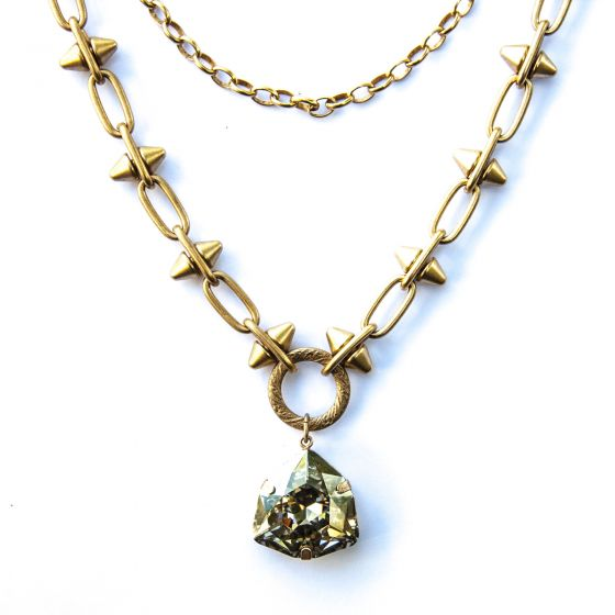 Catherine Popesco Triangle Crystal and Spike Chain Gold or Silver Necklace