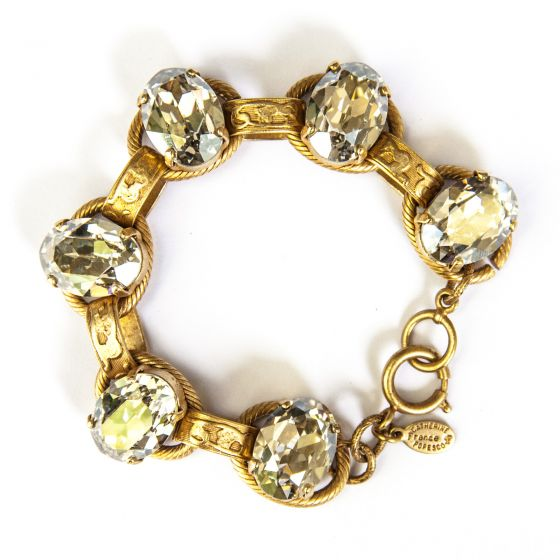 Catherine Popesco Oval Stone Ornate Bracelet in Gold and Shade