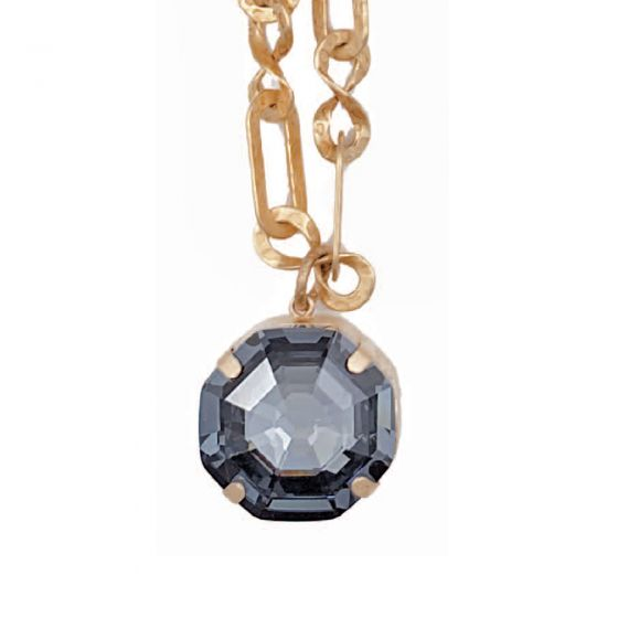 Catherine Popesco Octagon Crystal Pendant and Gold Necklace