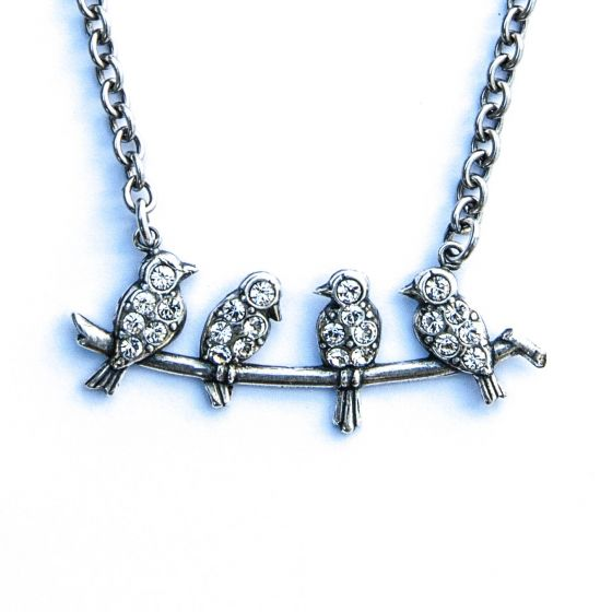 Catherine Popesco Four Blue Birds Crystal Necklace