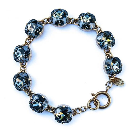 Catherine Popesco Large Stone Crystal Bracelet - Black Diamond and Gold