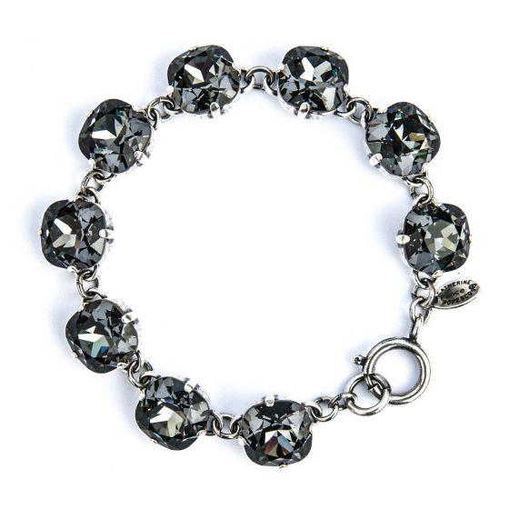 Catherine Popesco Large Stone Crystal Bracelet - Black Diamond and Silver