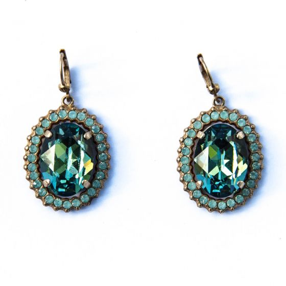Oval Crystal Frame Earrings - Marine & Pacific Opal