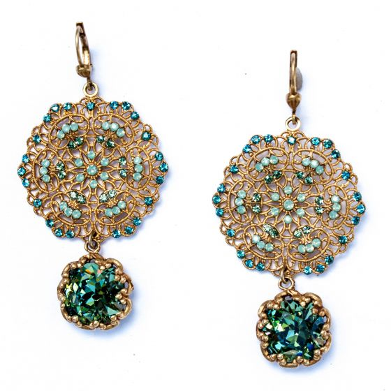 Catherine Popesco Lacy Teal, Pacific Opal and Gold Round Earrings with Drop