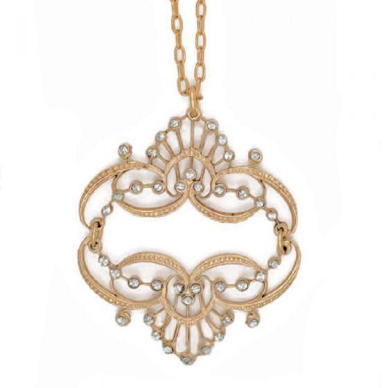 Catherine Popesco Mirrored Tiara Black Diamond or Pearl Gold Necklace