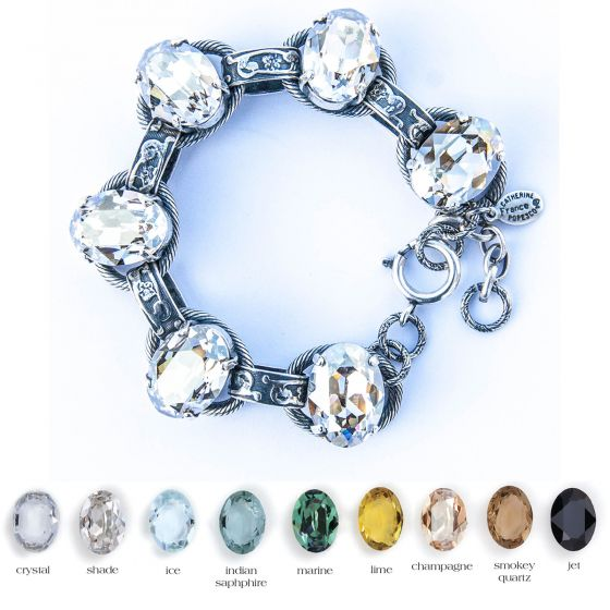 Catherine Popesco Oval Stone Ornate Bracelet - Assorted Colors in Silver or Gold