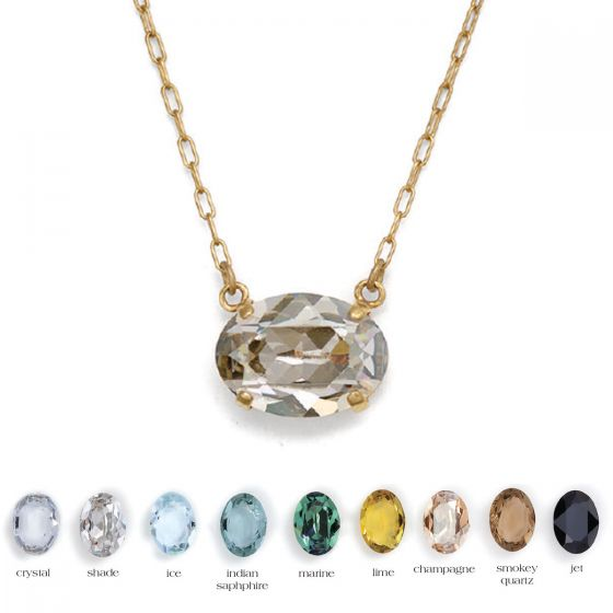 Oval Stone Crystal Necklace - Assorted Colors by Catherine Popesco