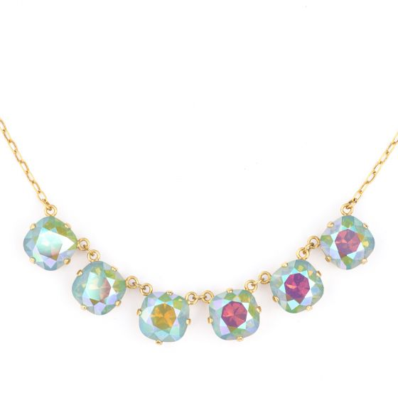 Catherine Popesco Large Stone Six Crystal Necklace - Assorted Colors - Gold or Silver