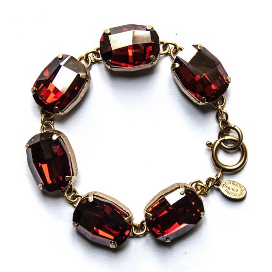 Catherine Popesco Extra Large Stone Oval Crystal Bracelet 6 Stones - Cranberry and Gold