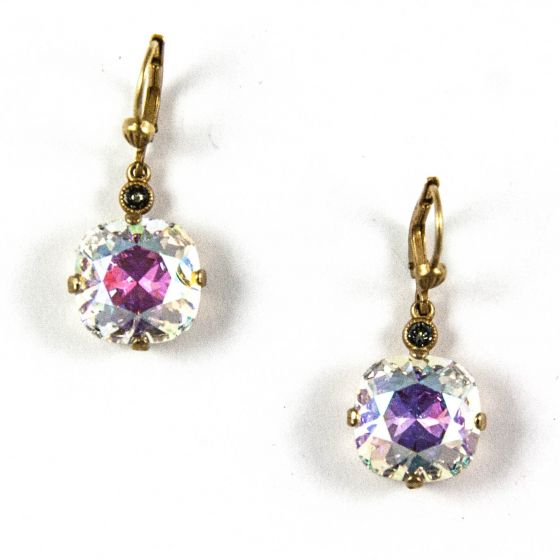 Catherine Popesco Large Stone Crystal Earrings - Crystal AB and Gold