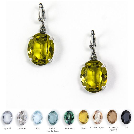 Catherine Popesco Large Stone Oval Crystal Earrings - Assorted Colors in Gold or Silver