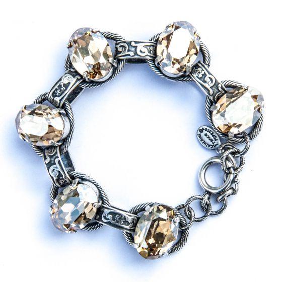 Catherine Popesco Oval Stone Ornate Bracelet in Silver and Champagne