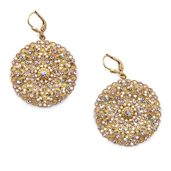 Catherine Popesco Medium Lacy Pink and Pearl Medallion Gold Earrings
