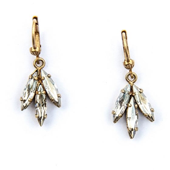 Catherine Popesco Dainty Leaf Crystal Earrings in Shade and Gold