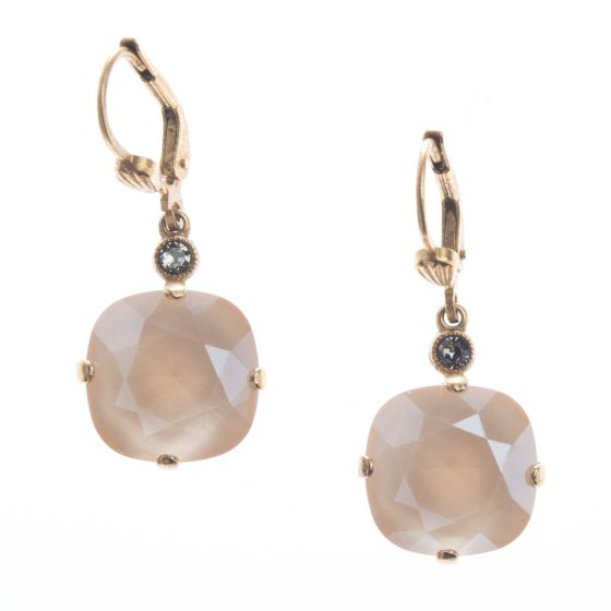 Catherine Popesco 12mm Large Stone Crystal Earrings - Ivory Cream