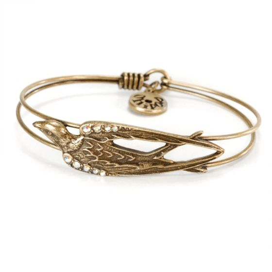 Sweet Romance Crystal Bird Bangle Bracelet - Gold