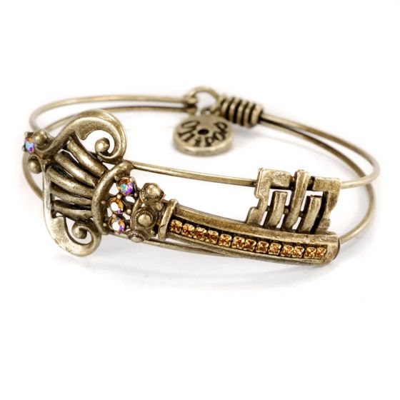 Sweet Romance Key To Everything Crystal Bangle Bracelet - Gold