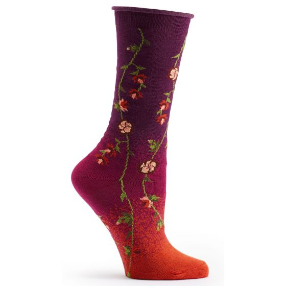 Ozone Socks Tibetan Flowers Sock - Red/Burgundy - Free Shipping!