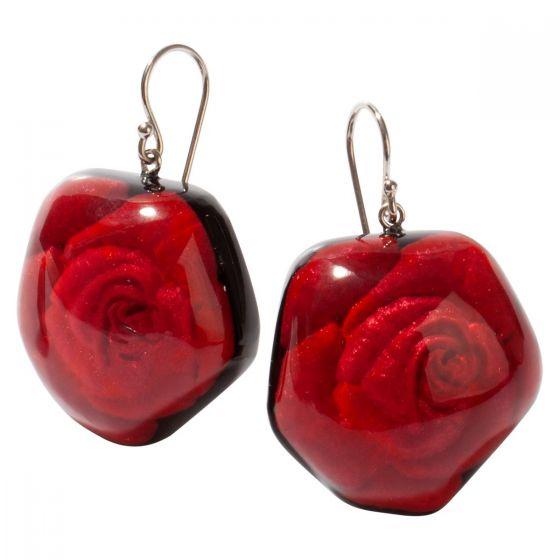 ZSISKA Handmade Designer Earrings - Frida Rose Red - Large