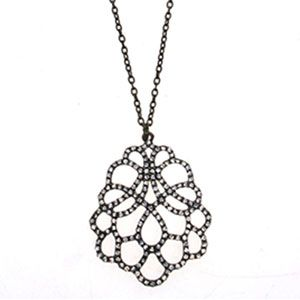 Antique Bronze Clear Crystal Lace Pendant Necklace by Sweet Lola