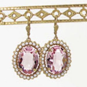 Catherine Popesco Oval Crystal Frame Earrings - Pink & Pearl