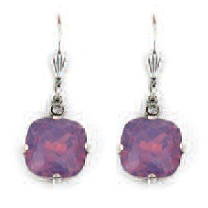 Large Stone Crystal Earrings - Lavender and Silver